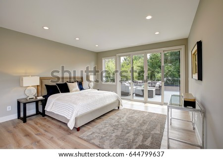 Bedroom Modern White Brown Bed Nightstands Stock Photo 103749464 Shutterstock