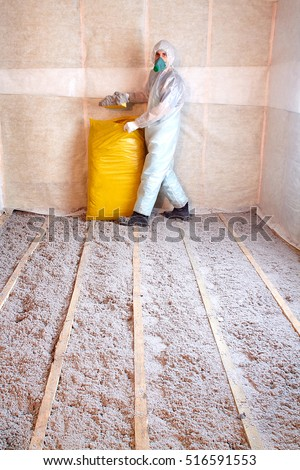 Work composed cellulose insulation floor floor stock photo for Eco friendly house insulation