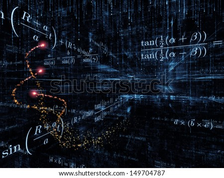 Mathematical Formula series. Backdrop composed of mathematical formulas and design elements in perspective and suitable for use in the projects on business, science, education and technology