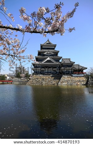 Matsumoto castle with full-bloom sakura in spring # 1