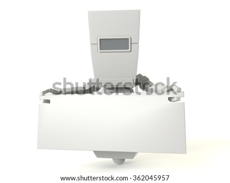 Matte white robot with banner.