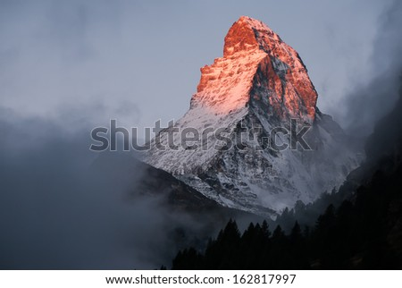 Matterhorn in early morning. Zermatt, Switzerland.