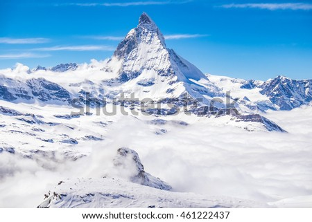 Matterhorn snow mountain view with clear sky