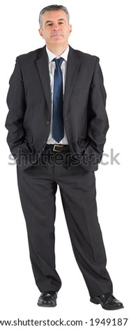 Mature businessman looking at camera on white background