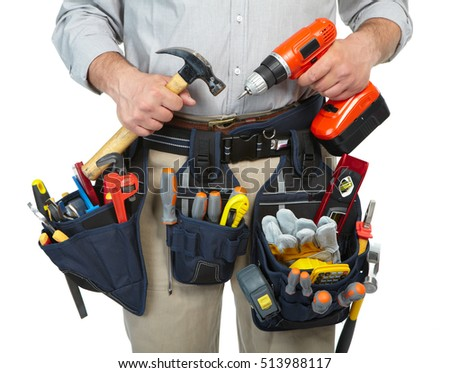 Mature contractor working. Over white background. Worker