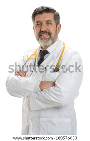 Mature Doctor smiling with crossed arms isolated on a white background