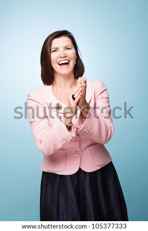 mature middle aged woman happy successful