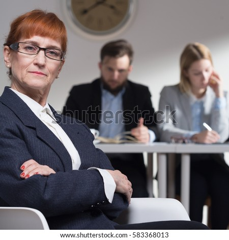 image Old lady job interview leads to threesome