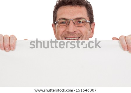 mature smiling businessman holding billboard copyspace isolated on white
