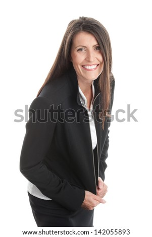 Mature woman wearing black suit