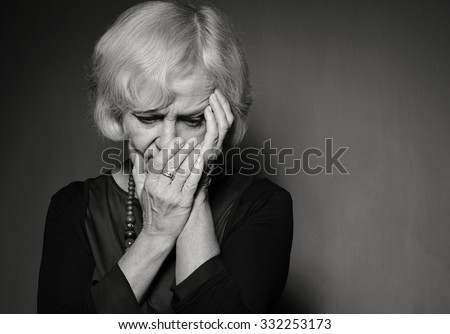 Mature woman with problems. B&W.