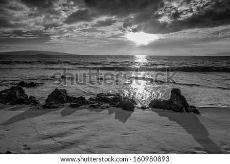 Maui Sunset in Black and White