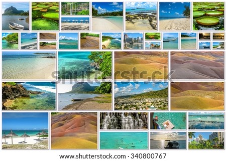 Mauritius pictures collage of different famous locations landmark of Republic of Mauritius, Indian Ocean, Africa.