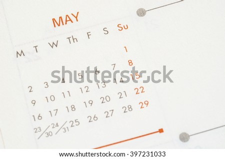 May 2016 calendar recycled paper background, weeks start from Monday