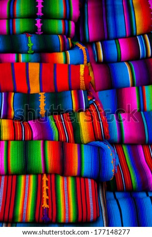 Mayan blankets textile designs on the market in Chichicastenango Guatemala