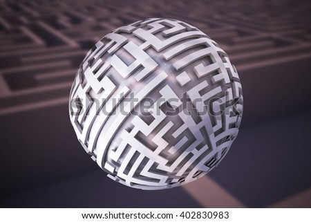 Maze ball against entrance to difficult maze puzzle