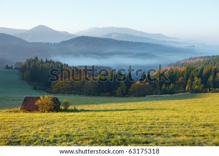 meadow, hut, fog and sunshine