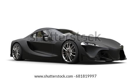 Mean Matte Black Super Sports Car   3D Illustration