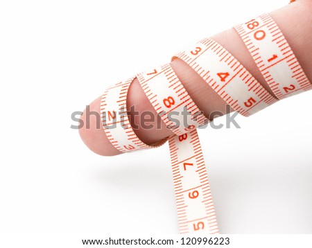 Measuring tape with finger isolated isolated on white background