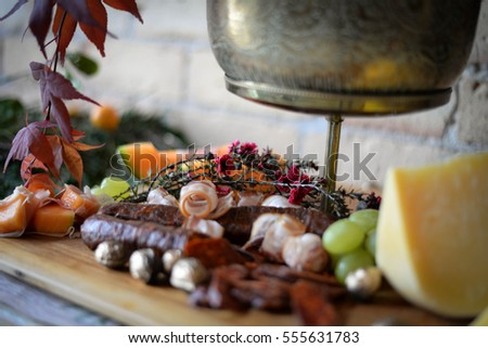 Meat And Cheeseboard With Fruit