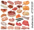 Meat collection isolated on white background - stock photo