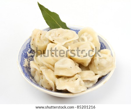 Meat Dumplings - russian pelmeni - with laurel