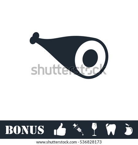 Meat icon flat. Simple illustration symbol and bonus pictogram