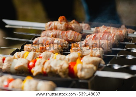 Meat skewers being grilled in a barbecue