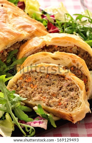 meatloaf in pastry with salad