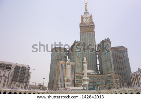 MECCA, S.ARABIA-JUNE 7: Abraj Al Bait (Royal Clock Tower Makkah) on June 7, 2013 in Makkah. The tower is the tallest clock tower in the world at 601m (1972 feet), built at a cost of USD1.5 billion.