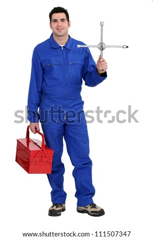 Mechanic with tool kit