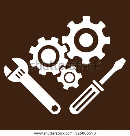 Mechanics Tools illustration icon. Style is flat symbol, white color, rounded angles, brown background.
