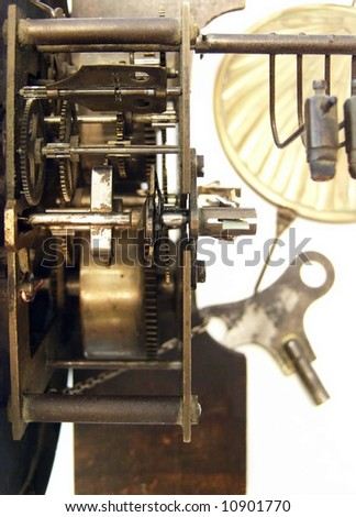 Inner Workings Old Fashioned Grandfather Clock Stock Photo