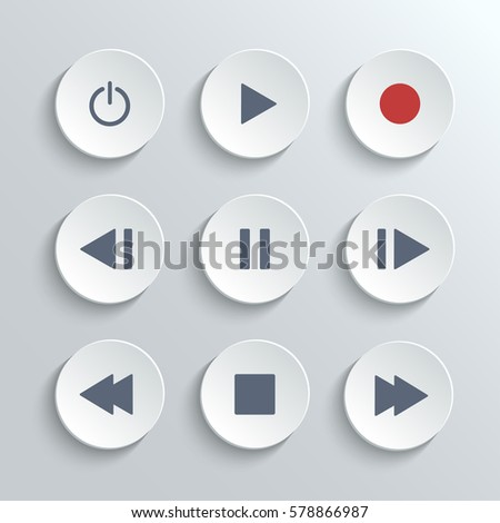 Icons Set Buttons For Flat Ui Media Player Stock Vector