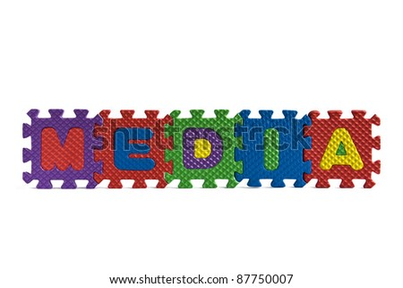 Media sign with alphabet puzzle letters isolated on white background