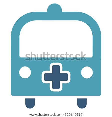 Medical Bus glyph icon. Style is bicolor flat symbol, cyan and blue colors, rounded angles, white background.