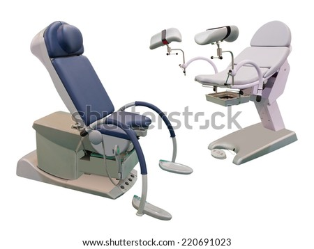 Medical chair under the white background