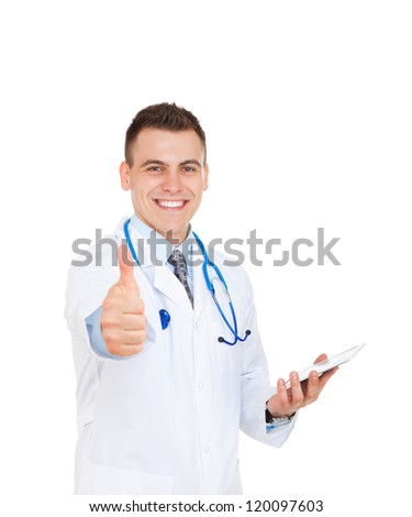 medical doctor man smile with stethoscope show hand with thumb up gesture, hold tablet computer pc. Happy toothy smiling Isolated over white background