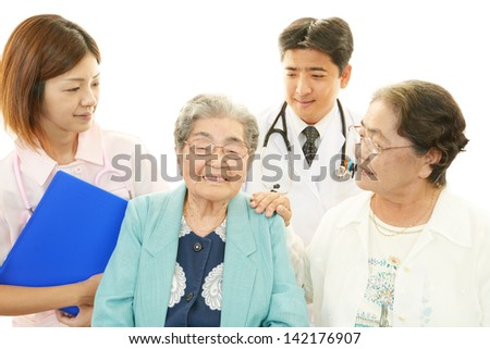 Medical staff and senior women