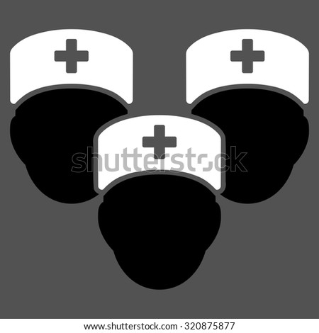 Medical Staff glyph icon. Style is bicolor flat symbol, black and white colors, rounded angles, gray background.