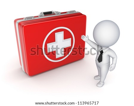 Medical suitcase and 3d small person.Isolated on white background.3d rendered.
