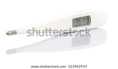 Medical thermometer over white background
