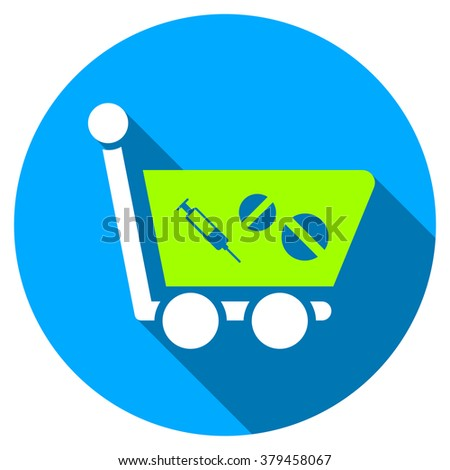 Medication Shopping Cart long shadow icon. Style is a light flat symbol with rounded angles on a blue round button.
