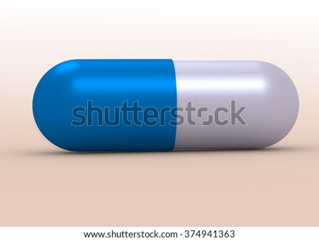 Medicine concepts. Illustration of capsule pill isolated on white