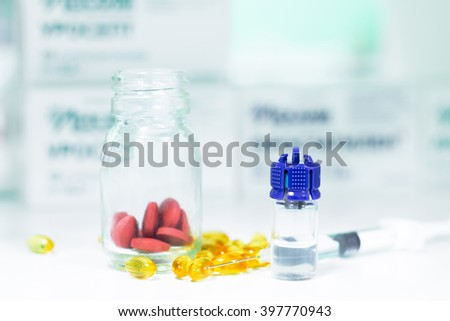 Medicine pills in bottle or capsules with syringe, ampules. Drug prescription for treatment medication. Pharmaceutical medicament, cure in container for health. Antibiotic, painkiller
