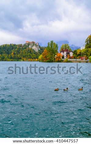 Medieval Bled castle on the hill cliff near the lake, Slovenia