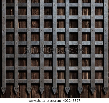 medieval wall design medieval castle wall metal gate background stock illustration