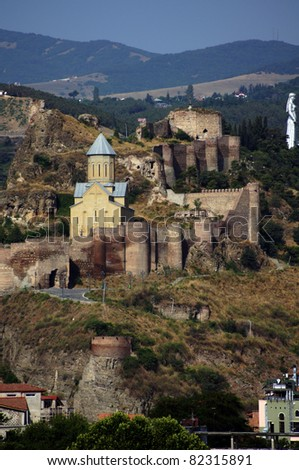 Medieval castle of Narikala and Tbilisi city overview, Republic of Georgia, Caucasus region