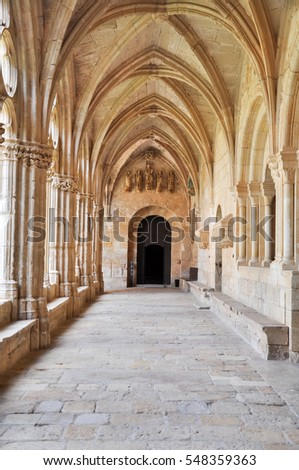 medieval cloister with arcade and arches, in spain