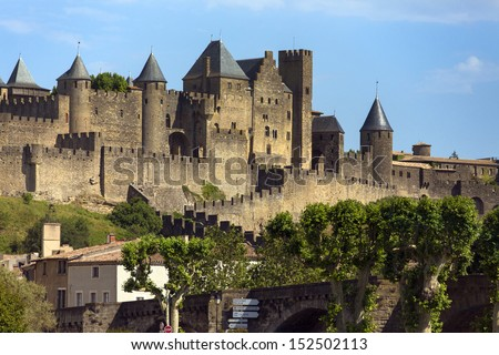 Medieval fortress and walled city of Carcassonne in the Languedoc-Roussillon region of south west France.  It was restored in 1853 and is now a UNESCO World Heritage Site.